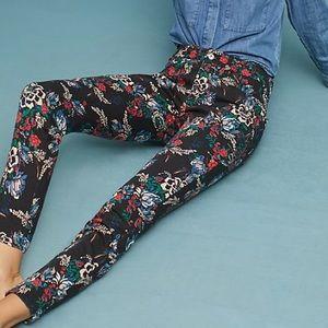 Anthropologie Black Floral Skinny Jeans
